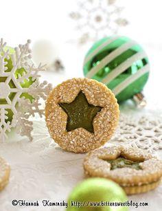 pistachio praline linzer cookies