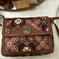 PRICE REDUCED - Vera Bradley crossbody - brown 8X6-1/2 clossbody with plenty of room for everything. Great colors will go with everything. Vera Bradley Bags Crossbody Bags