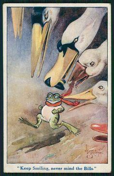 art Jacques Brownez Frog run from Swan bird original old postcard Frosch Illustration, Illustration Art, Frog Pictures, Frog Art, Cute Frogs, Frog And Toad, Kermit, Illustrations Posters, Vintage Illustrations