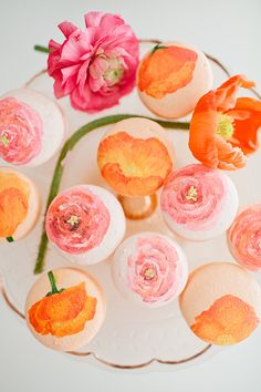 Easter party inspiration by 100layercake: Handpainted macarons. Image credit Megan Welker #Easter #Party #Macaron