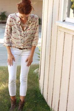 nautical blouse w/short cowboy boots