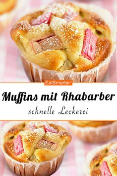 Muffins with rhubarb - Rhabarber-Rezepte - Clean Eating Desserts, Healthy Dessert Recipes, Cupcake Recipes, Eating Healthy, Muffins Double Chocolat, Muffins Sains, Desserts Sains, Rhubarb Desserts, Gateaux Cake