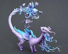 Dragon sculpture | fairytale figurine | fantasy creature | OOAK | fairy dragon with butterflies | fantasy sculpture | fairytale creature