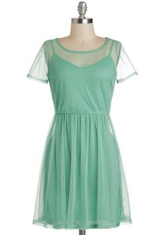 My Finest Aura Dress - Mid-length, Sheer, Mint, Solid, Casual, A-line, Short Sleeves, Pastel, Variation