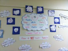 Cumulus Clouds with Elmers glue and shaving cream!