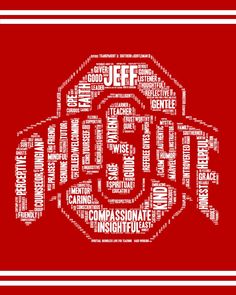 Ohio State Word Art Custom Art Print The Word Art was personalized for a retirement gift for a colleague. Designed by Polka Dot Heart Art Word Cloud Art, Word Art, Ohio State Logo, Logo Word, Words To Describe, Your Teacher, Heart Art, Custom Art, Wall Art Prints