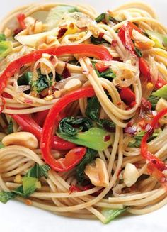 A vegetable explosion that'll leave your taste buds in a frenzy! Hot-and-Sour Peanutty Noodles with Bok Choy.