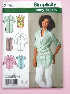 Simplicity 2255 Sewing Pattern Ladies Tunic / Blouse Top -  Easy to Sew