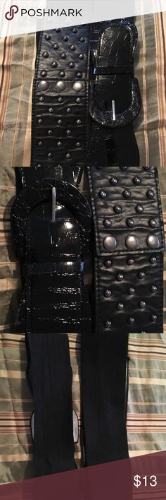 Black Elastic Dress Belts (2-pieces) Elastic Dress Belts with embedded stones, one buttons and one has a buckle to fasten. Accessories Belts