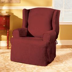 Leather Sofas Sure Fit Soft Suede Wing Chair Slipcover Walmart Available in Blue Stone