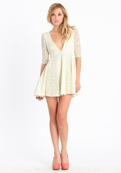 Super short lace dress with plunging neckline from Threadsence
