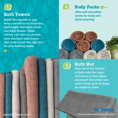 Norwex (1) Bath Towels, (2) Body Pack, (3) Bath Mat. For Facebook parties, online events and marketing.