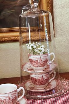 Pretty way to display cups and saucers....under a cloche!