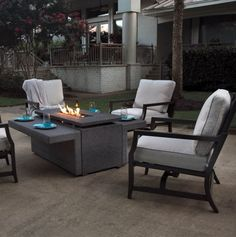 kendall 5 piece fire pit chat set • available online only • rust