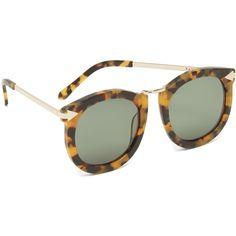 Karen Walker Super Lunar Sunglasses (€270) ❤ liked on Polyvore featuring accessories, eyewear, sunglasses, oversized sunglasses, round tortoise sunglasses, karen walker sunglasses, polarized sunglasses and plastic glasses