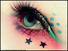 Pink and aqua stars and dots glitter eye makeup for prom Beautiful Eye Makeup, Stunning Eyes, Nice Makeup, Simple Makeup, Glitter Eye Makeup, Eyeshadow Makeup, Teal Eyeliner, Crazy Lipstick, Make Up Designs