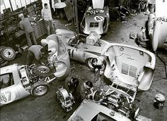 "Spyder prep at the Teloché Garages near LeMans Circuit. ""How much in today's value?"" KB"