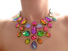 Floating Illusion Vitrail Rainbow Rhinestone Statement Necklace