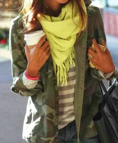 neon chartreuse yellow green scarf, grey stripe top, camo jacket