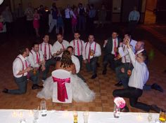 The guys serenade the bride, at the Radisson Quad City Plaza, Davenport, Iowa.  Their song of choice: You've Lost that Loving Feeling.  Photo by Marske Music Productions - Kirk Marske, DJ & Emcee - www.marskemusic.com, info@marskemusic.com