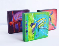 Mounted Mini 4x4 Yoga Art Prints on wood by Eliza Lynn Tobin (via Etsy)