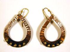 Teardrop copper earrings with brass pebbles by BaccaraJewelry, $38.00