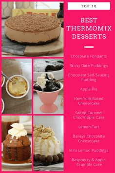 The ultimate list of the very best Thermomix desserts! From chocolate fondants to lemon tart. Baking Recipes, Cake Recipes, Dessert Recipes, New York Baked Cheesecake, Cheddarwurst Recipe, Apple Crumble Cake, Mulberry Recipes, Self Saucing Pudding, Desert Recipes
