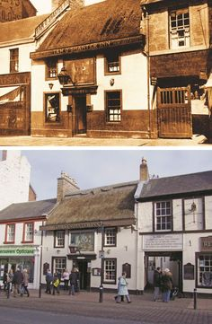 Tam O' Shanter Inn, Ayr in 1930 and as it looks today.  This public house is celebrated as the place where Robert Burns' famous hero Tam o' Shanter and his drouthy cronies met prior to Tam's famous ride from the witches. The truth is  different, however, for Tam was, of course, a figment of Burns' imagination, and when the poem  was written this building was just a house until an enterprising landlord changed the name. #UK #history #localhistory