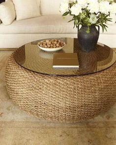 dois pneus+palha+vidro Driftwood Coffee Table by Ralph Lauren Home at Neiman Marcus. Accent Furniture, Diy Furniture, Recycled Furniture, Wicker Furniture, Furniture Design, Driftwood Coffee Table, Tire Craft, Old Tires, Creation Deco