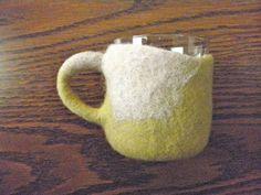 Conception lente laine porte-verre & verre  exquise par momoish
