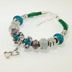 European charm bead bracelet Handmade Teal Green by BekisBeads