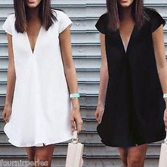 Fashion Women V-neck Short Sleeve Summer Mini Dress Solid Tops Casual Sundress Lace Summer Dresses, Nice Dresses, Casual Dresses, Short Sleeve Dresses, Dresses Dresses, Winter Fashion Outfits, Trendy Outfits, Fashion Dresses, Mode Ab 50