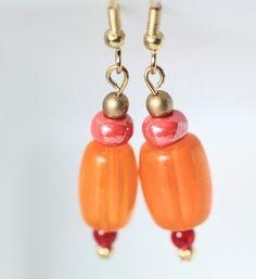 Orange Glass Earrings Fall Color Dangle Earrings Orange by ScoSiCa, $14.50