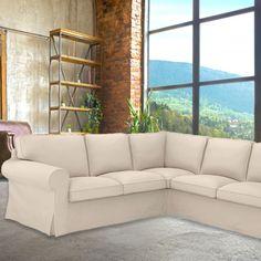 IKEA EKTORP Sofa Slip Cover, Solid Linen Oatmeal Armchair | affordable, designer, custom, handmade, trendy, fashionable, locally made, high quality