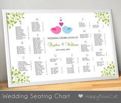 Wedding Seating Chart, Wedding Seating, Reception Template Seating Chart - Customizable Design - Birds Love and