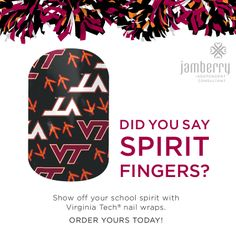Licensed nail art to show off you school spirit! #basketball #marchmadness #football Virginia Tech Hokies http://www.bkimball.jamberrynails.net/category/collegiate