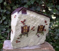 Hand Painted Rock - French Country House - back by WytcheHazel, via Flickr