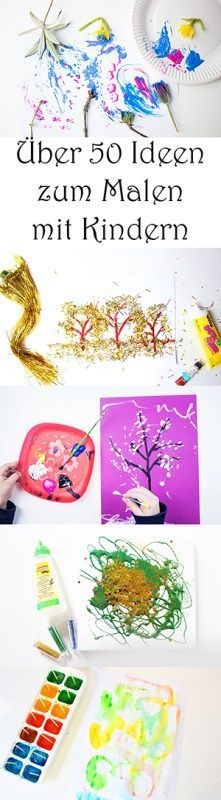 Kita 50 ideas for painting with children at school, at home, in kindergarten. - basteln - Welcome Crafts Home Crafts, Diy And Crafts, Diy For Kids, Crafts For Kids, Kids Corner, Preschool Learning, Painting For Kids, Creative Kids, Pre School