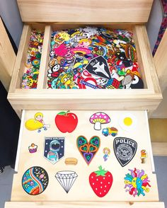 Our all new iron on patch station at @southmelbournemarket. Comes equipped with pull out patch selector tray   #irononpatches #southmelbournemarket #southmelbourne #melbourne #patches #koenjivintage #fruit #badges #spaceexplorer #embroideredpatches #diydenim #design