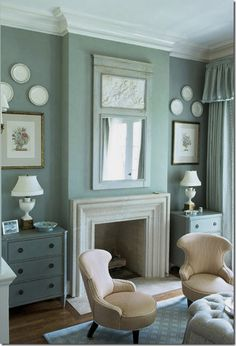 CDT's Top Ten Design Elements #6: Mirrors, and wall decor. Here a trumeau mirror with creamy inset is flanked by botanicals and creamware on the walls.