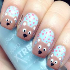 Teddy Bear Nails #blue #sallyhansen  See more #nailart - bellashoot.com (mobile-friendly), bellashoot iPhone & iPad app