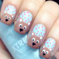 Teddy Bear Nails #blue #sallyhansen  See more #nailart - bellashoot.com (mobile-friendly), bellashoot iPhone & iPad app