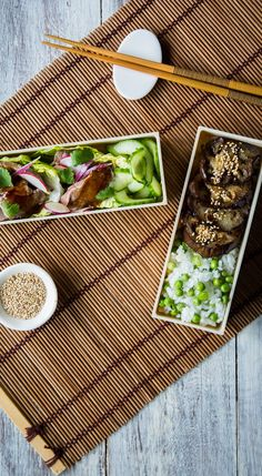 This beautifully simple bento box recipe from Louise Robinson is packed with treats to brighten up your lunchtime. Tucked inside are morsels of moreish baked miso aubergine and steak teriyaki, supported by fragrant Japanese rice and tangy pickled cucumber.
