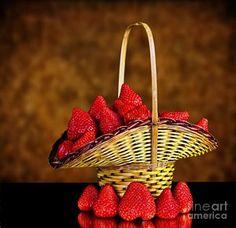 Basket Full Of Strawberries by Shirley Mangini Strawberries, Fine Art America, Basket, Fruit, Food, Strawberry Fruit, The Fruit, Strawberry, Meals