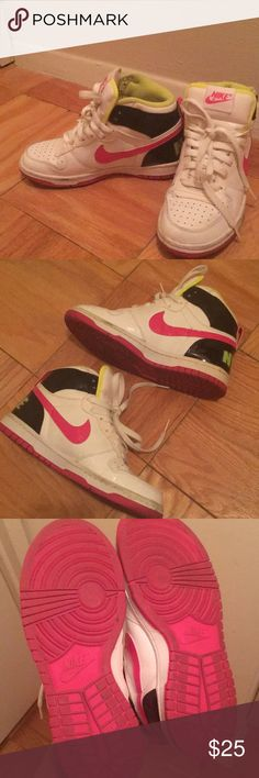 Nike swoosh high top sneaker Highlighter yellow / green and pink Nike high top  Worn maybe 5 times max Great for students or adults  Size 5Y, similar to women 6.5 / 7  Box not included  Similar to Nike, adidas, puma, converse, uptempo, yeezy, nmd, Jordan, Nike Shoes Sneakers