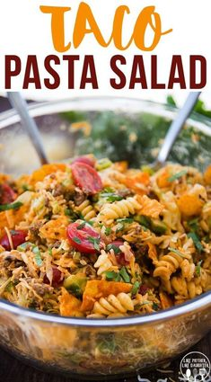 Taco Pasta Salad is a delicious pasta salad made with Mexican flavors, seasoned ground beef, crunchy doritos, and a delicious creamy dressing! Perfect for a summer potluck or BBQ! recipes with ground beef ideas Taco Pasta Salad Taco Salad Recipes, Mexican Food Recipes, Beef Recipes, Cooking Recipes, Healthy Recipes, Healthy Food, Taco Salads, Mexican Pasta Salads, Cold Pasta Recipes