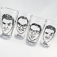 """Grooms, don't wait till the last minute when you can Reserve Your Order for a set of Vintage Style Caricature Pint Glasses by Crystal Peace Studio, noted as a """"Gift They'll really want"""" by Bridal Guide Magazine  These cool groomsmen gifts are hand painted from photos you provide.  They are both dishwasher and handwashing safe and will NOT chip or fade!  Come visit our etsy shop or website at www.crystalpeace.com for more information and to reserve your order!  :D"""