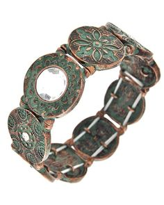 Burnished Copper Tone / Patina / Clear Acrylic / Lead&nickel Compliant / Metal / Stretch / Bracelet