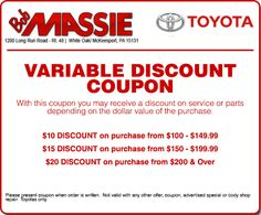 Toyota service repair coupons haley toyota certified sales and at bob massie toyota we know the service bill can add up but we want to help you save big bucks fandeluxe Gallery