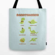 "Tote Bag / 16"" x 16"" AnishaCreations (anishacreations) DANDYSAURUS by AnishaCreations $22.00"